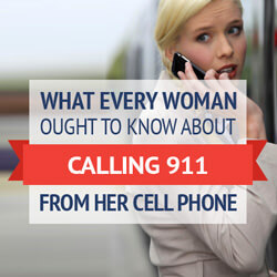 Woman calling 911 from her cell phone